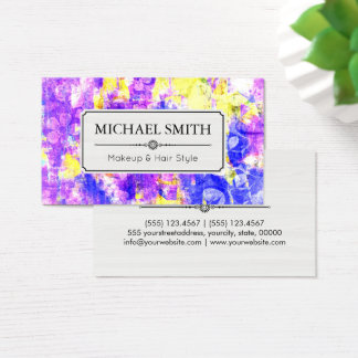 Makeup Hair Style Modern Floral Abstract Business Card