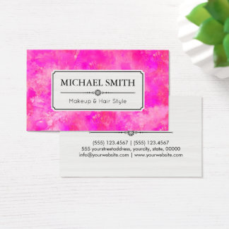 Makeup Hair Style Modern Hot Pink Abstract Business Card