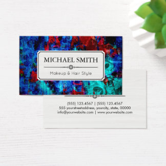 Makeup Hair Style Modern Red Blue Abstract Business Card