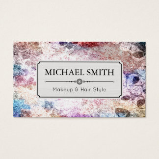 Makeup Hair Style Modern Retro Floral Pattern #16 Business Card