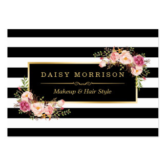 Makeup Hair Style Salon Elegant Gold Floral Decor Pack Of Chubby Business Cards