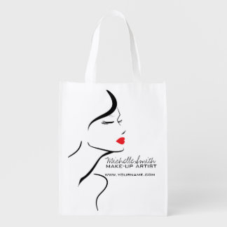 Makeup Icon Woman face in black white red lips