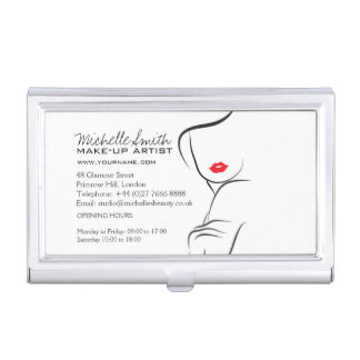 Makeup Icon Woman face in black white red lips Business Card Holder