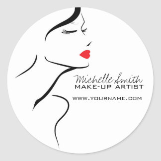 Makeup Icon Woman face in black white red lips Classic Round Sticker