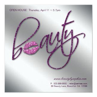 Makeup Invitation Open House Beauty Lips Purple