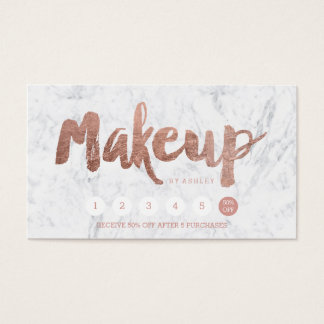 Makeup loyalty punch rose gold typography marble business card