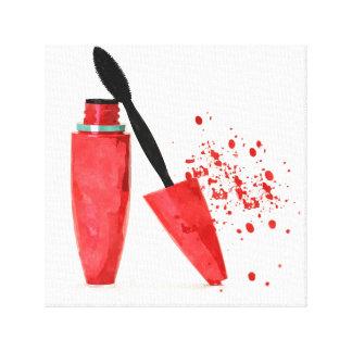 Makeup mascara beauty fashion stylish glamour red canvas print