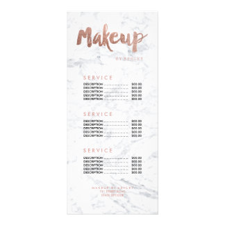 Makeup modern gold typography marble price list rack card design