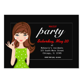 Makeup party 13 cm x 18 cm invitation card