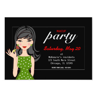 """Makeup Party 5"""" X 7"""" Invitation Card"""