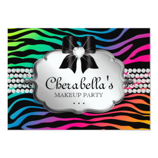 Makeup Party Invitation Zebra Rainbow Jewelry