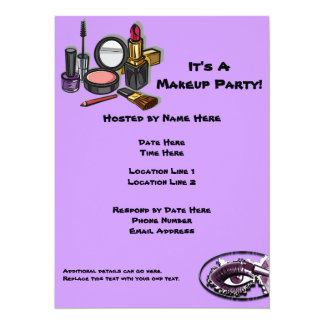 "Makeup Party Invitations 5.5"" X 7.5"" Invitation Card"