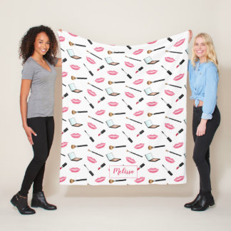Makeup Pattern And Pink Lips With Custom Name Fleece Blanket