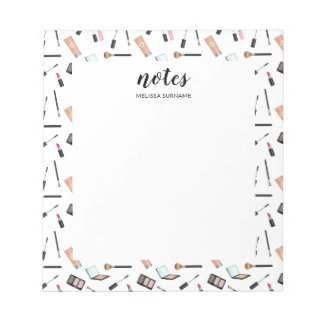 Makeup Pattern Borders With Personalized Name Notepad