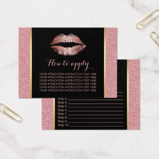 Makeup Rose Gold Lips Application Instructions Business Card