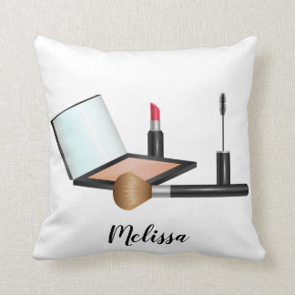 Makeup Stuff Illustration With Personalized Name Cushion