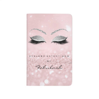 Makeup Stylist Beauty Salon Lashes Glitter Pink Journal
