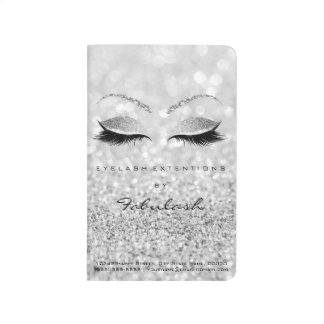 Makeup Stylist Beauty Salon Lashes Glitter Silver Journal