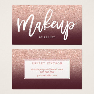 Makeup typography rose gold glitter burgundy business card