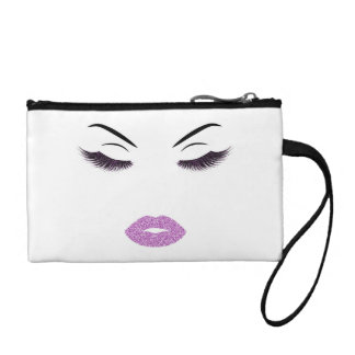 Makeup with glitter effect coin purse