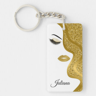 Makeup with glitter effect key ring