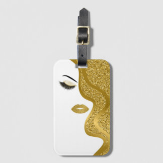 Makeup with glitter effect luggage tag