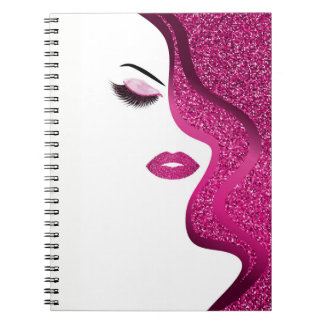 Makeup with glitter effect notebooks