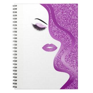 Makeup with glitter effect spiral notebook
