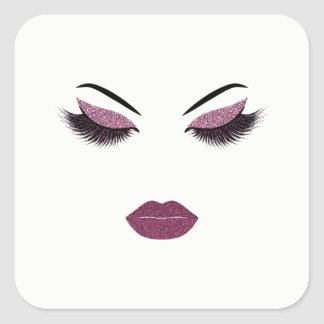 Makeup with glitter effect square sticker