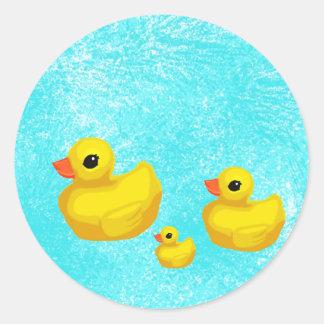 Makin' a Splash! Rubber Ducky Seals Round Sticker