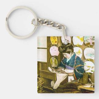 Making Paper Fans in Old Japan Vintage Uchiwa Key Ring