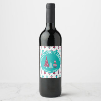 Making Spirits Bright Teal Mauve Holiday Trees Wine Label