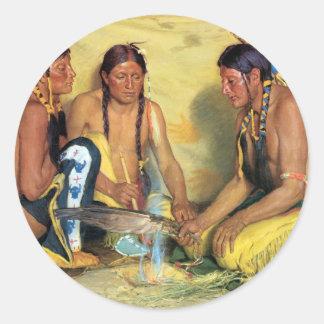 Making Sweetgrass Medicine, Blackfeet Ceremony Round Sticker
