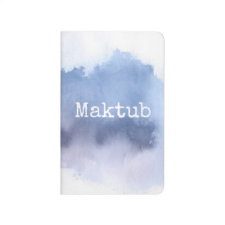 Maktub white text pocket Journal blue