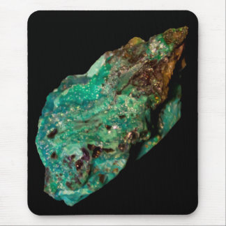 Malachite Green Mineral on Black Mousepad