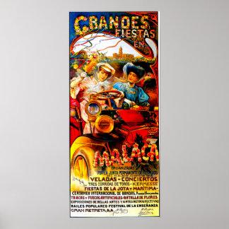 Malaga Spain ~ Vintage Automobile Advertisement Poster