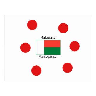 Malagasy Language And Madagascar Flag Design Postcard