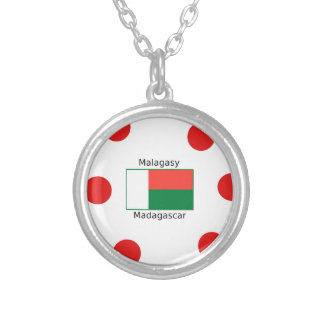 Malagasy Language And Madagascar Flag Design Silver Plated Necklace