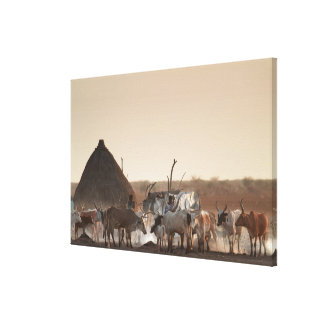Malakal, village of Dinka ethnic group Stretched Canvas Print