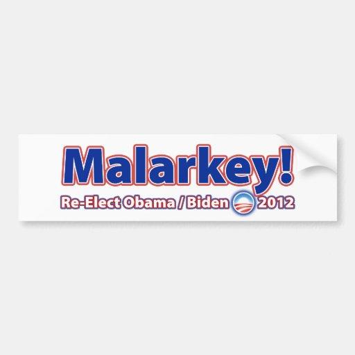 Malarkey! Re-Elect President Obama Biden 2012 Bumper Stickers