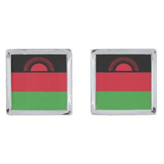 Malawi Flag Silver Finish Cufflinks
