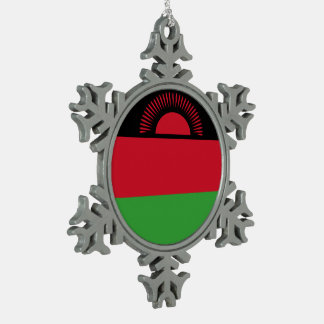 Malawi Flag Snowflake Pewter Christmas Ornament