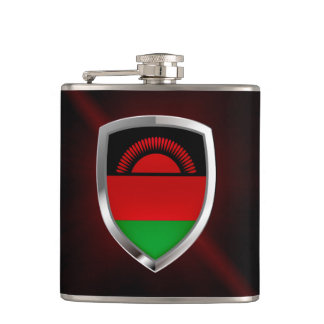 Malawi Metallic Emblem Hip Flask