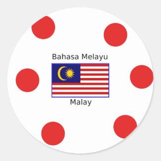 Malaysia Flag And Malay Language Design Classic Round Sticker