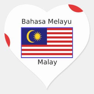 Malaysia Flag And Malay Language Design Heart Sticker