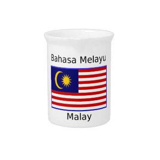 Malaysia Flag And Malay Language Design Pitcher