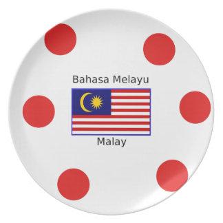 Malaysia Flag And Malay Language Design Plate