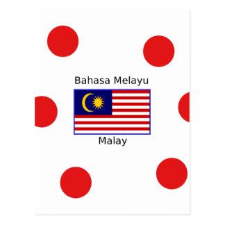 Malaysia Flag And Malay Language Design Postcard