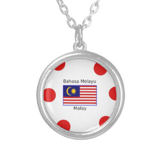 Malaysia Flag And Malay Language Design Silver Plated Necklace