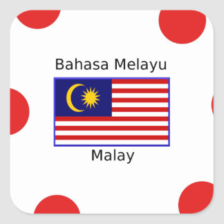 Malaysia Flag And Malay Language Design Square Sticker